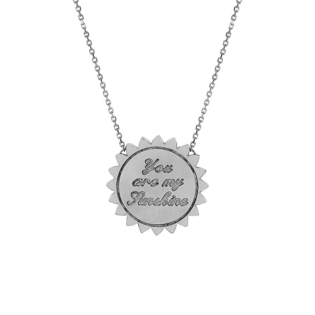"Custom Medium ""You Are My Sunshine"" Four Initial Necklace with Star Set Diamond"
