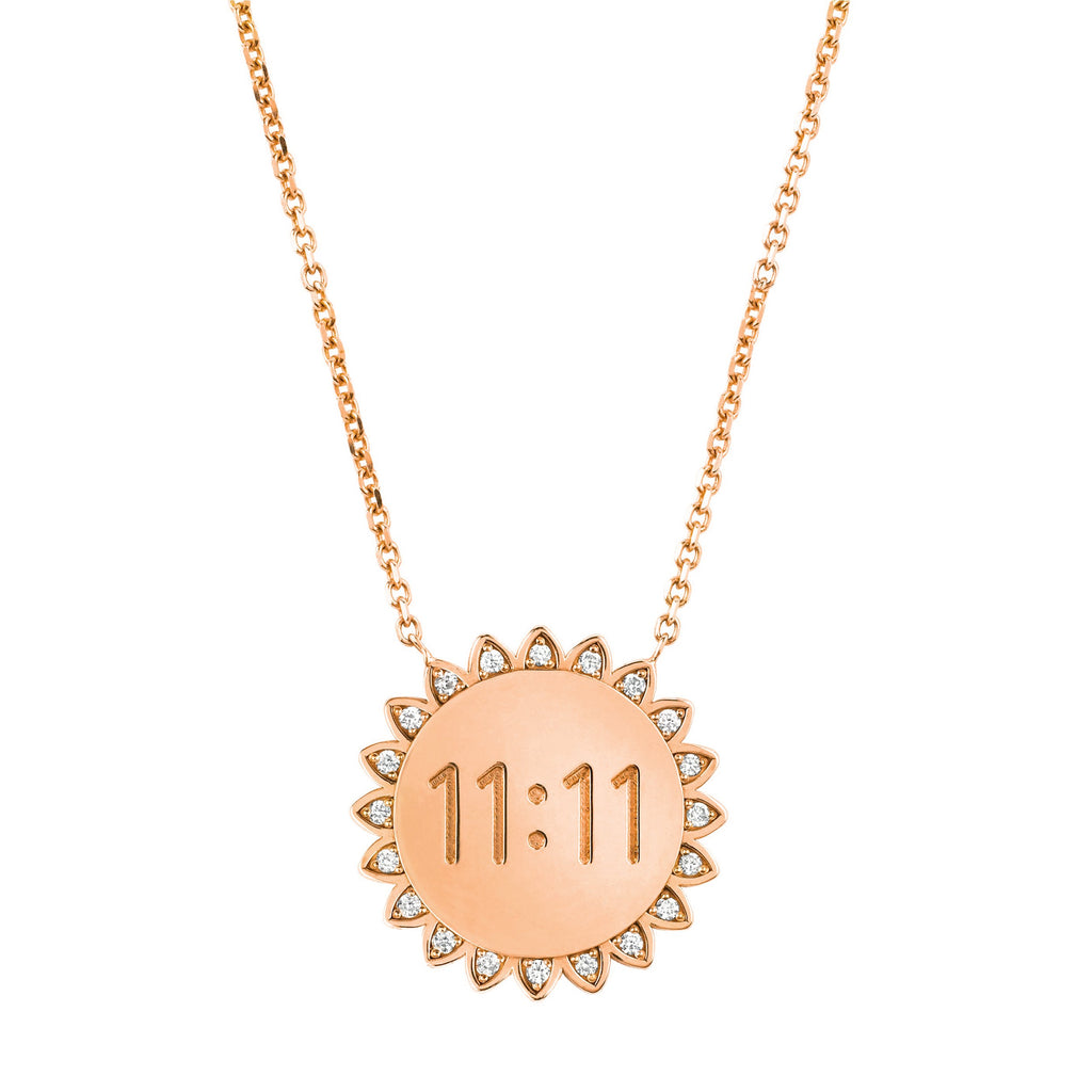 Medium 11:11 Sunshine Necklace with Diamonds Rose Gold