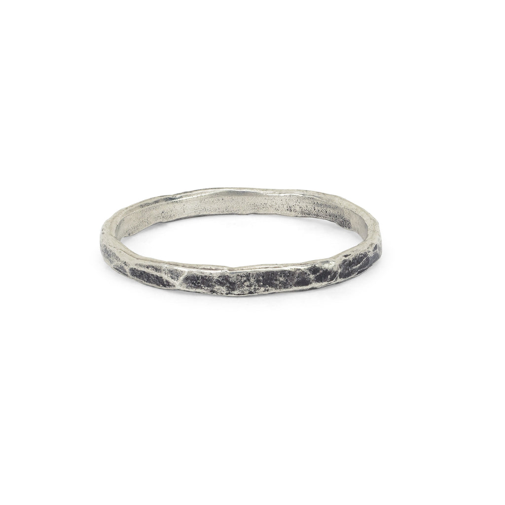 Men's Hammered Band Small Silver