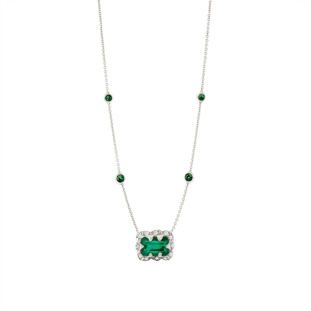 Micro Queen 5 Emerald Orbit Choker with Emerald Cut Emerald Center Micro Queen 5 Emerald Orbit Choker with Emerald Cut Emerald Center