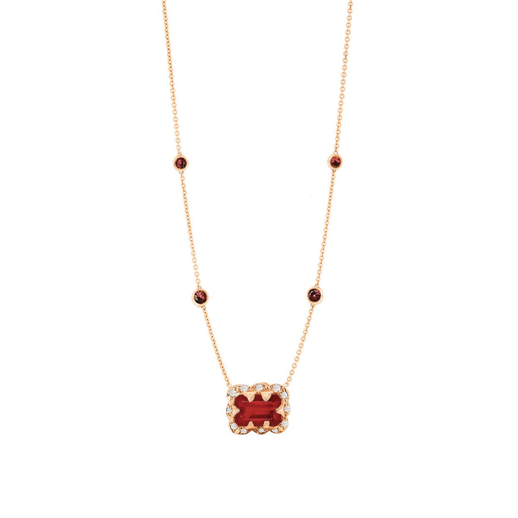NEW! Micro Queen 5 Ruby Orbit Choker with Emerald Cut Ruby Center NEW! Micro Queen 5 Ruby Orbit Choker with Emerald Cut Ruby Center