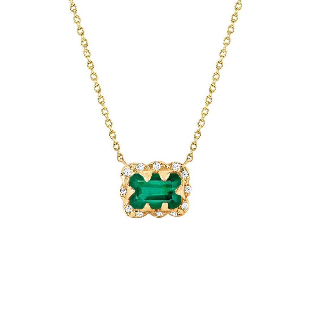 Micro Queen Emerald Cut Emerald Necklace with Sprinkled Diamonds Micro Queen Emerald Cut Emerald Necklace with Sprinkled Diamonds