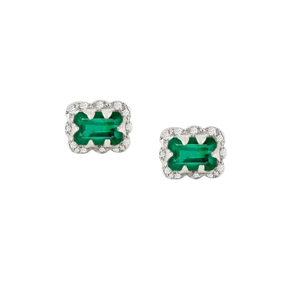 Micro Queen Emerald Cut Emerald Earrings with Sprinkled Diamonds