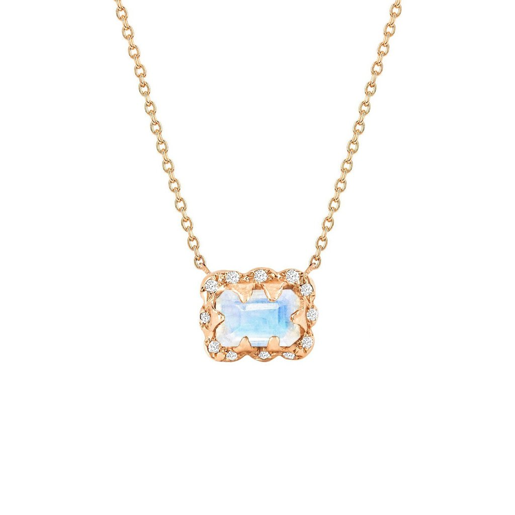 Micro Queen Emerald Cut Moonstone Necklace with Sprinkled Diamonds Micro Queen Emerald Cut Moonstone Necklace with Sprinkled Diamonds