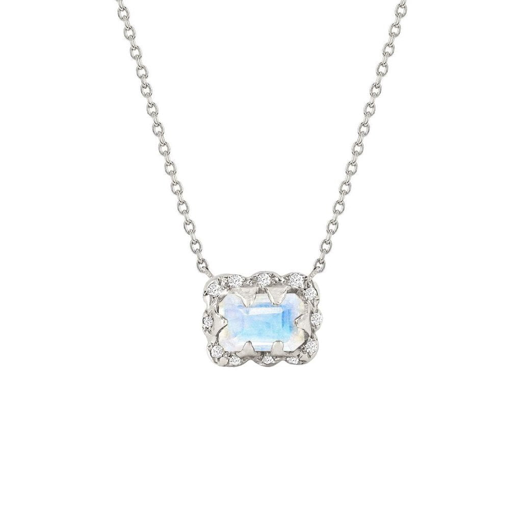 Micro Queen Emerald Cut Moonstone Necklace with Sprinkled Diamonds