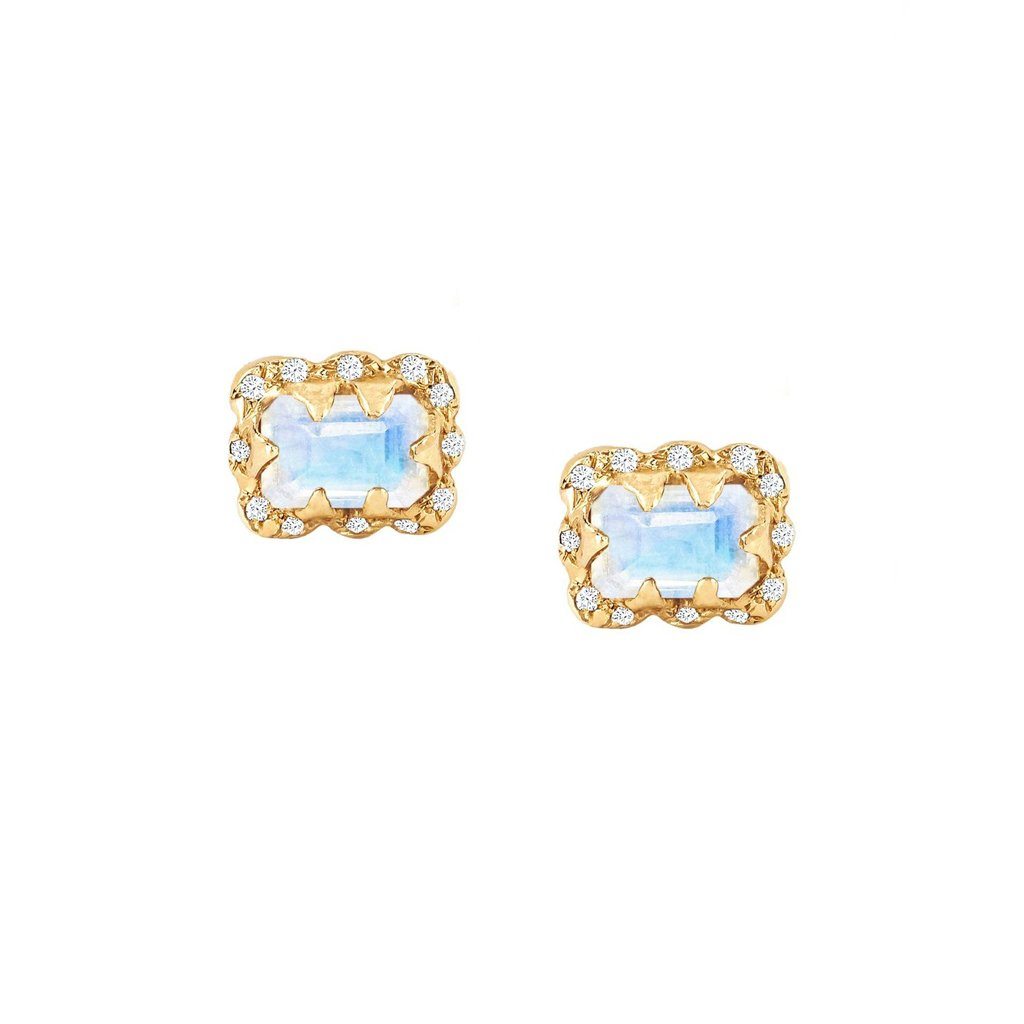 Micro Queen Emerald Cut Moonstone Earrings with Sprinkled Diamonds
