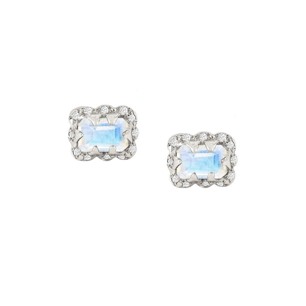 Micro Queen Emerald Cut Moonstone Earrings with Sprinkled Diamonds Micro Queen Emerald Cut Moonstone Earrings with Sprinkled Diamonds