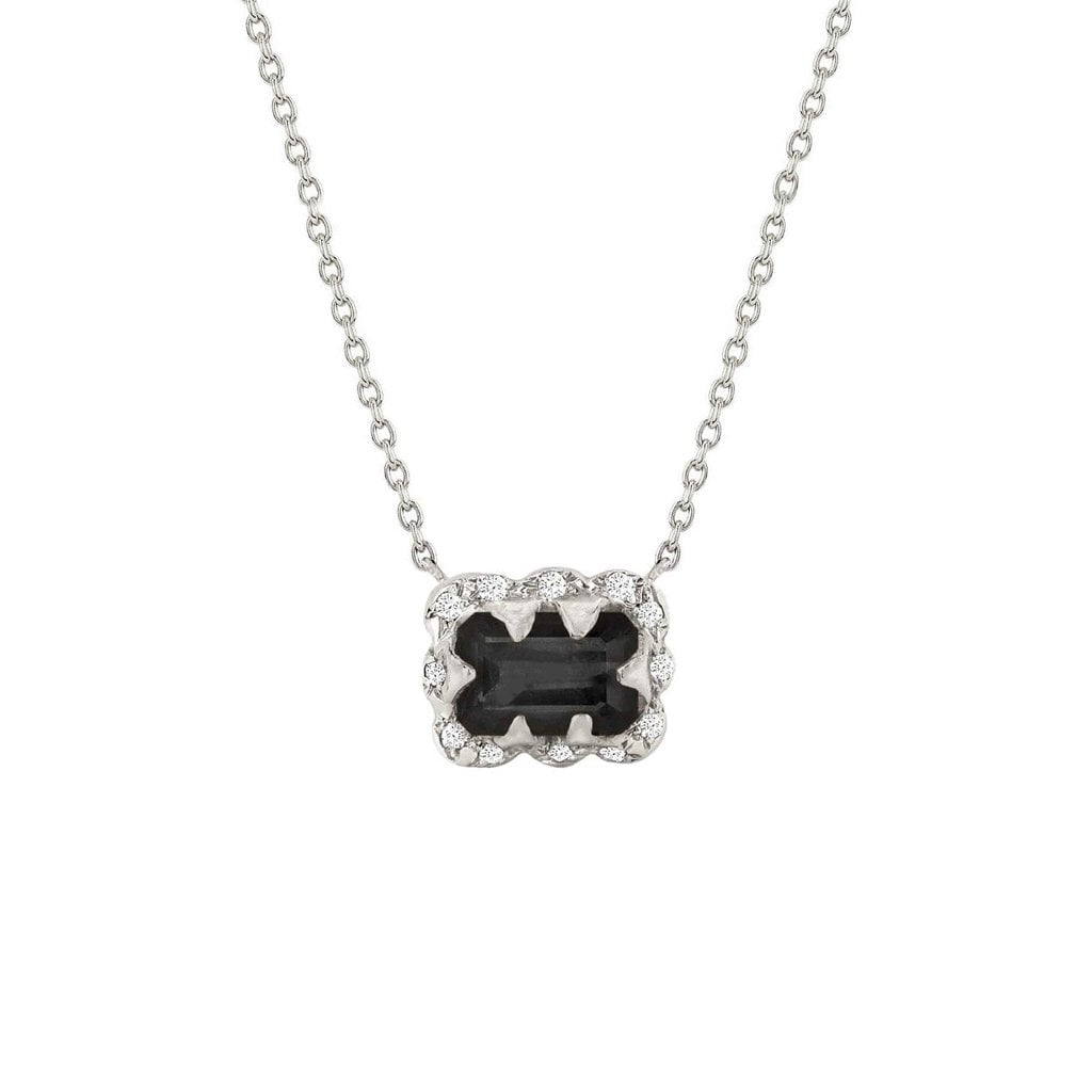 Micro Queen Emerald Cut Onyx Necklace with Sprinkled Diamonds Micro Queen Emerald Cut Onyx Necklace with Sprinkled Diamonds