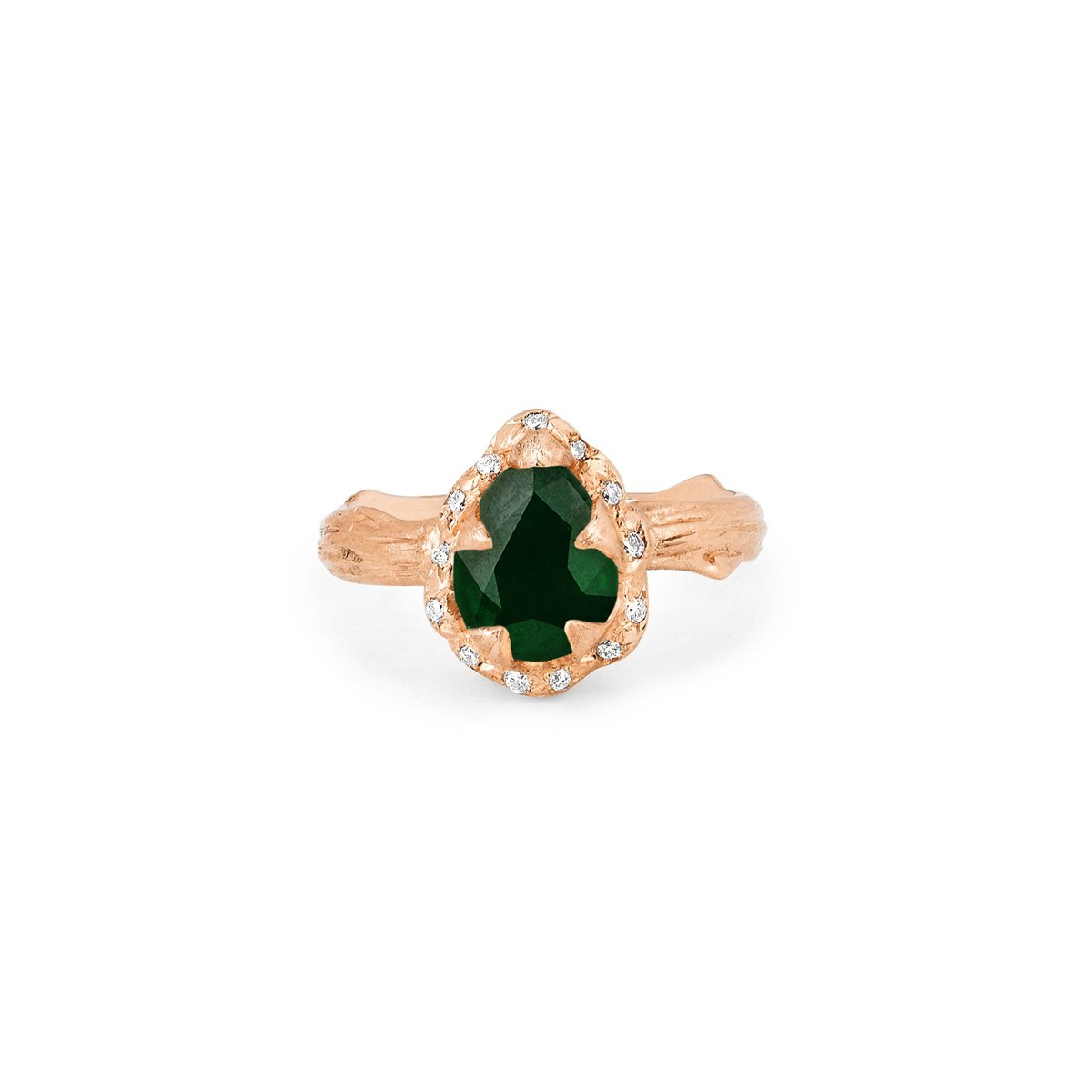 Micro Queen Water Drop Emerald Rose Thorn Ring with Sprinkled Diamonds