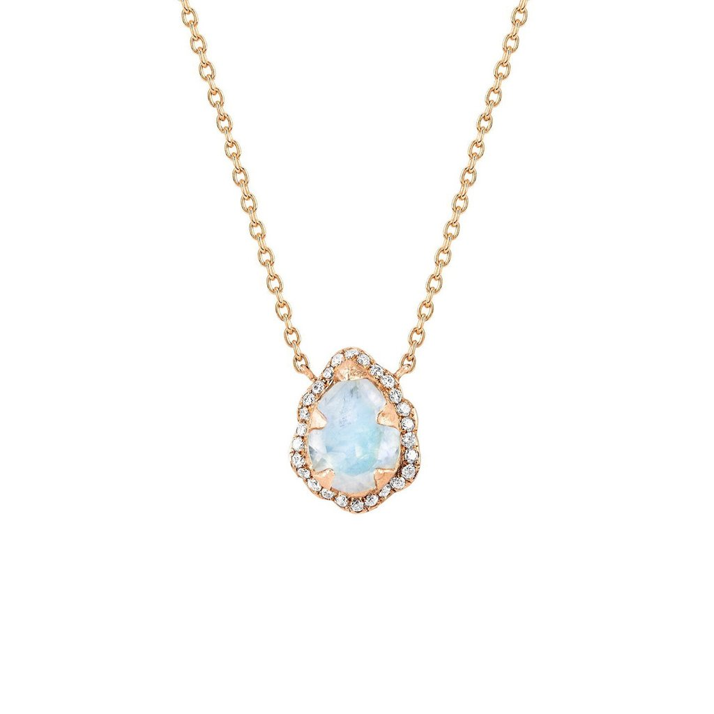 Micro Queen Water Drop Moonstone Necklace with Pavé Diamond Halo