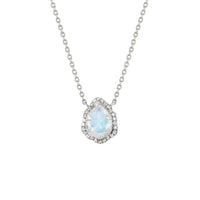 Micro Queen Water Drop Moonstone Necklace with Pavé Diamond Halo Micro Queen Water Drop Moonstone Necklace with Pavé Diamond Halo