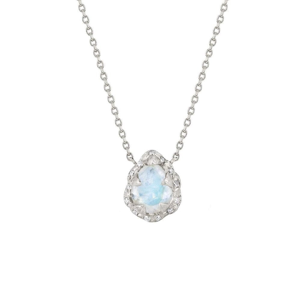 Micro Queen Water Drop Moonstone Necklace with Sprinkled Diamonds