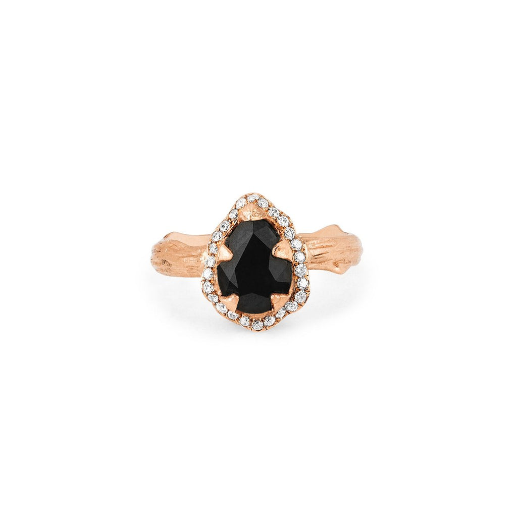 Micro Queen Water Drop Onyx Rose Thorn Ring with Pavé Diamond Halo Micro Queen Water Drop Onyx Rose Thorn Ring with Pavé Diamond Halo