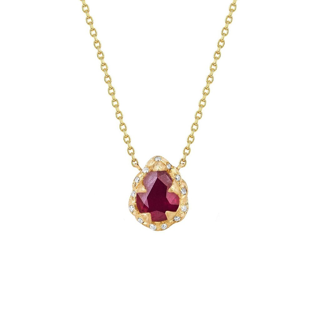 Micro Queen Water Drop Ruby Necklace with Sprinkled Diamonds