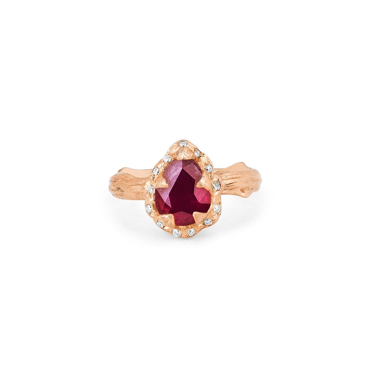 Micro Queen Water Drop Ruby Rose Thorn Ring with Sprinkled Diamonds