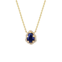 Micro Queen Water Drop Blue Sapphire Necklace with Pavé Diamond Halo Micro Queen Water Drop Blue Sapphire Necklace with Pavé Diamond Halo