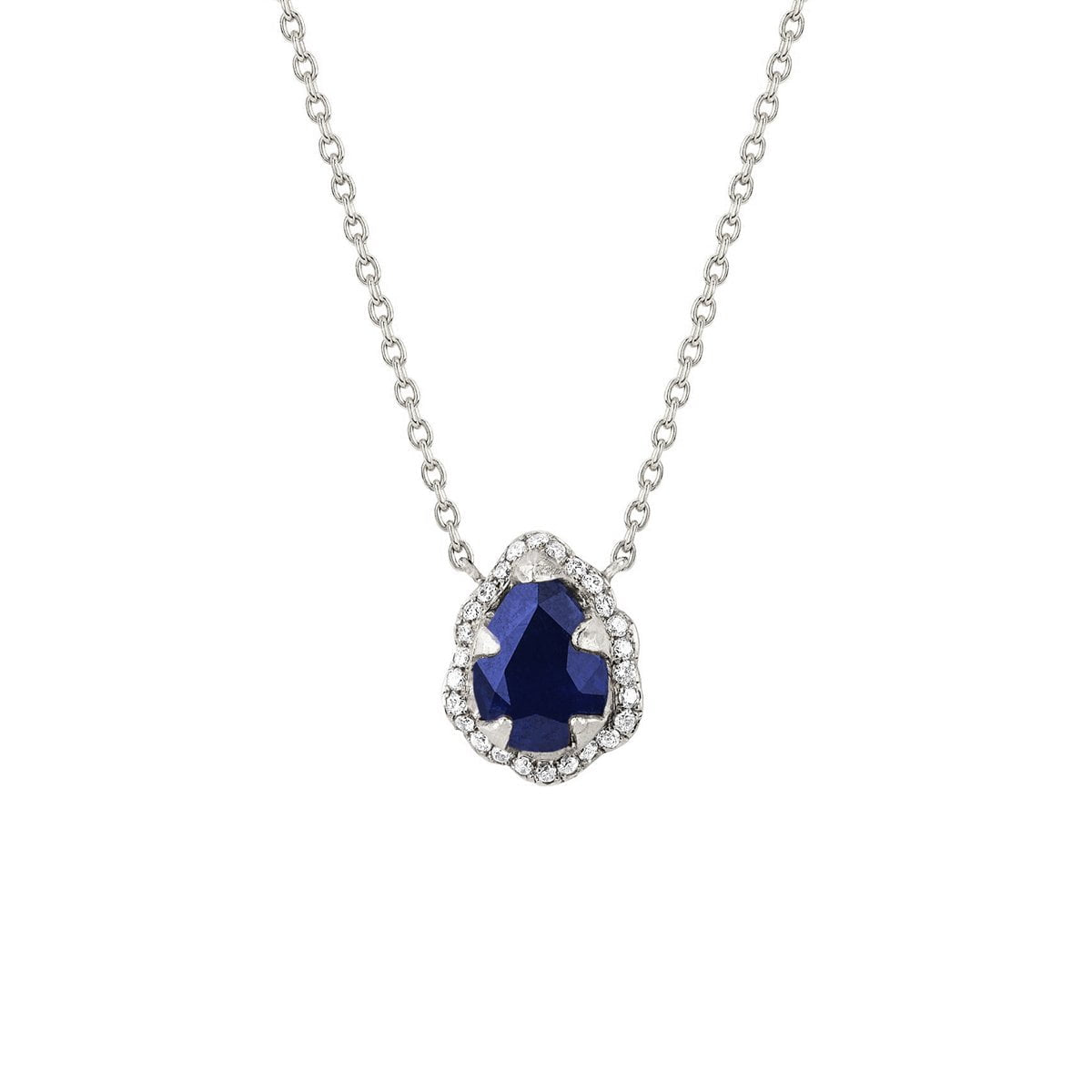 Micro Queen Water Drop Blue Sapphire Necklace with Pavé Diamond Halo