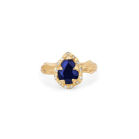 Micro Queen Water Drop Blue Sapphire Rose Thorn Ring with Sprinkled Diamonds Micro Queen Water Drop Blue Sapphire Rose Thorn Ring with Sprinkled Diamonds