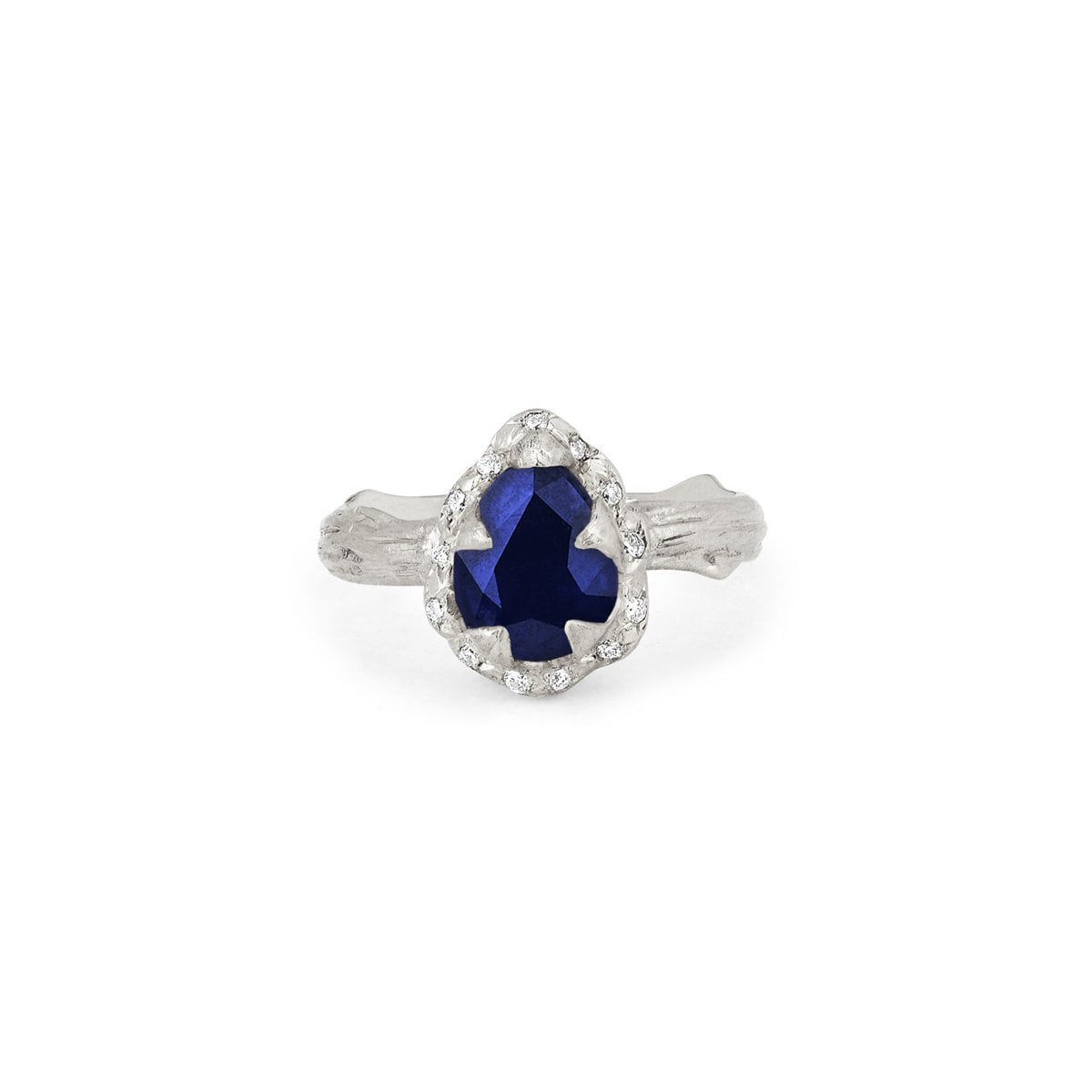 Micro Queen Water Drop Blue Sapphire Rose Thorn Ring with Sprinkled Diamonds