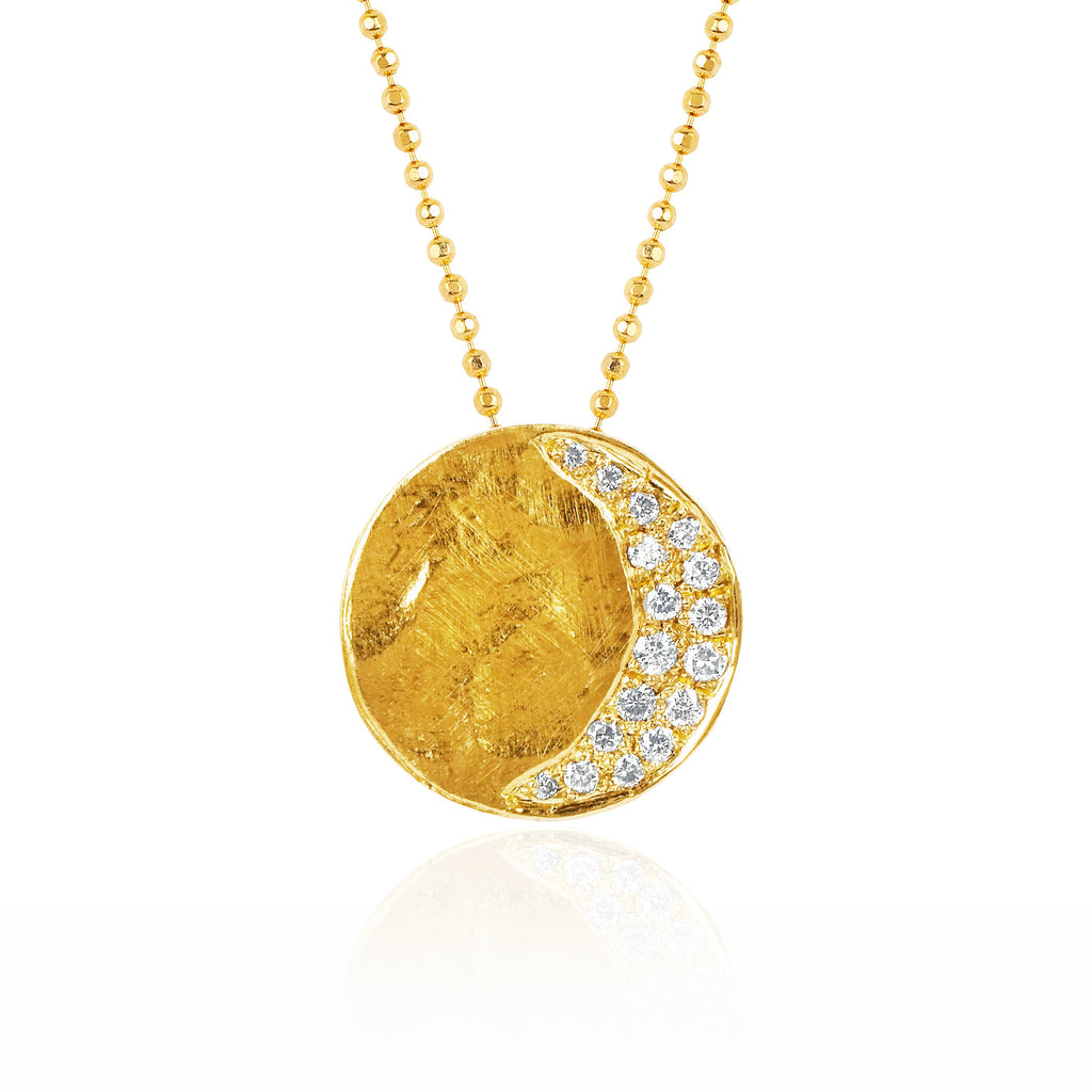 Waning Crescent Moon Phase Coin Necklace Yellow Gold