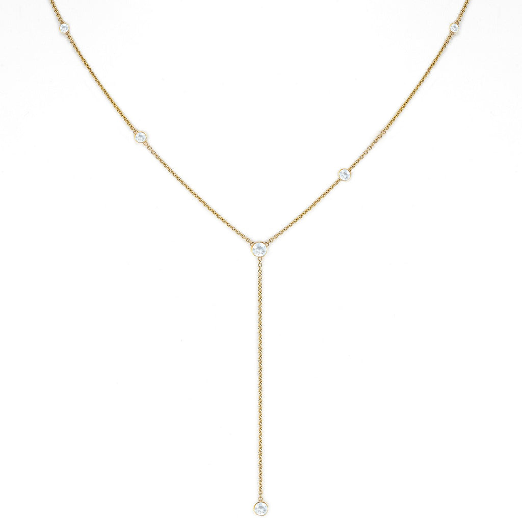 Moonstone Star Droplet Necklace Yellow Gold