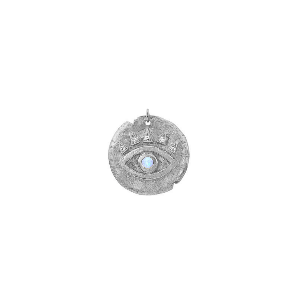 Moonstone Baby Eye of Protection Coin Charm White Gold