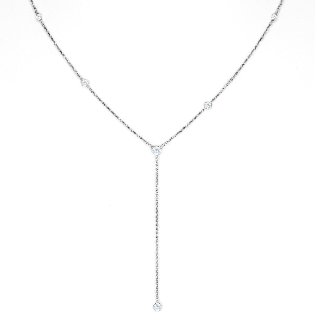 Moonstone Star Droplet Necklace White Gold