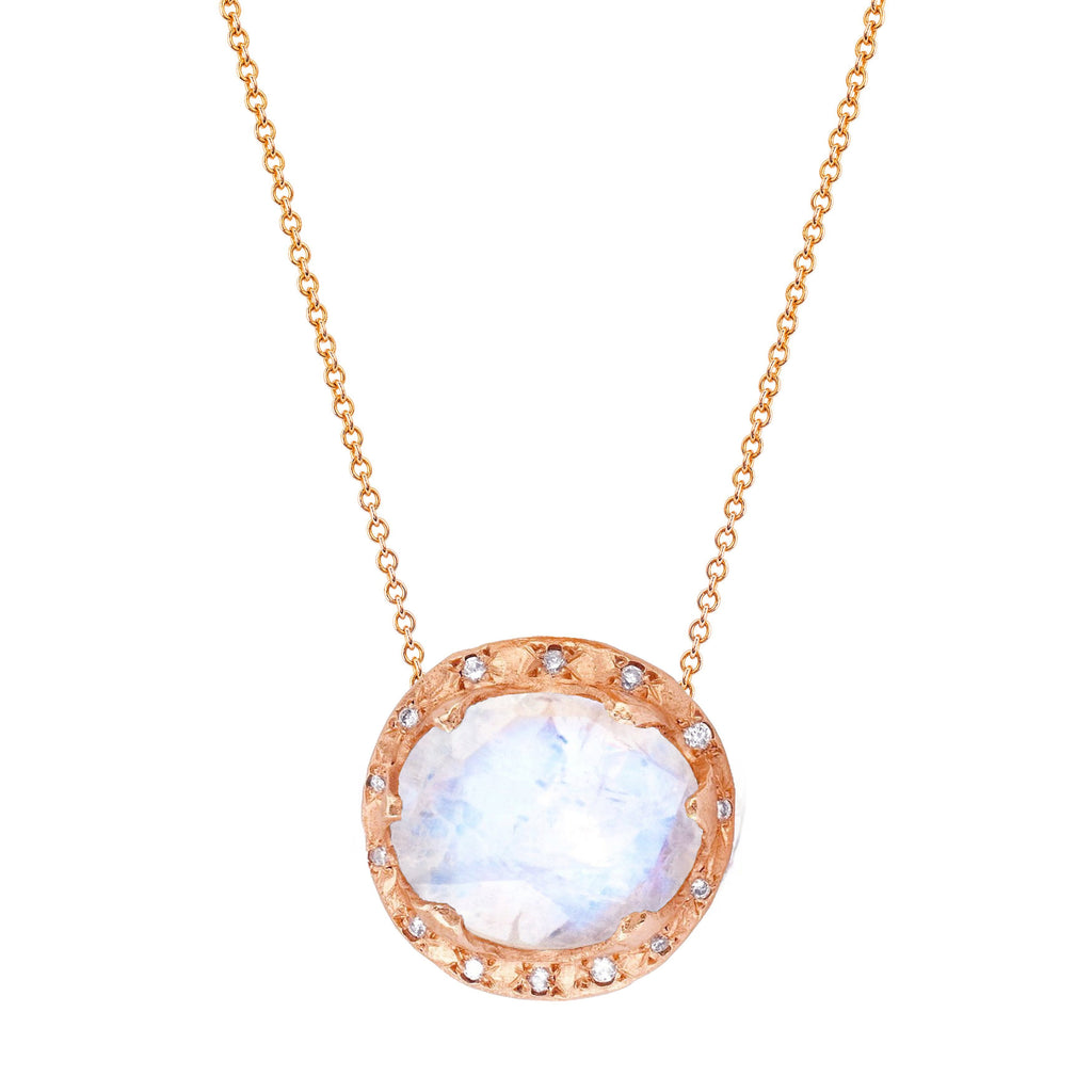 Queen Oval Moonstone Necklace with Sprinkled Diamonds Rose Gold