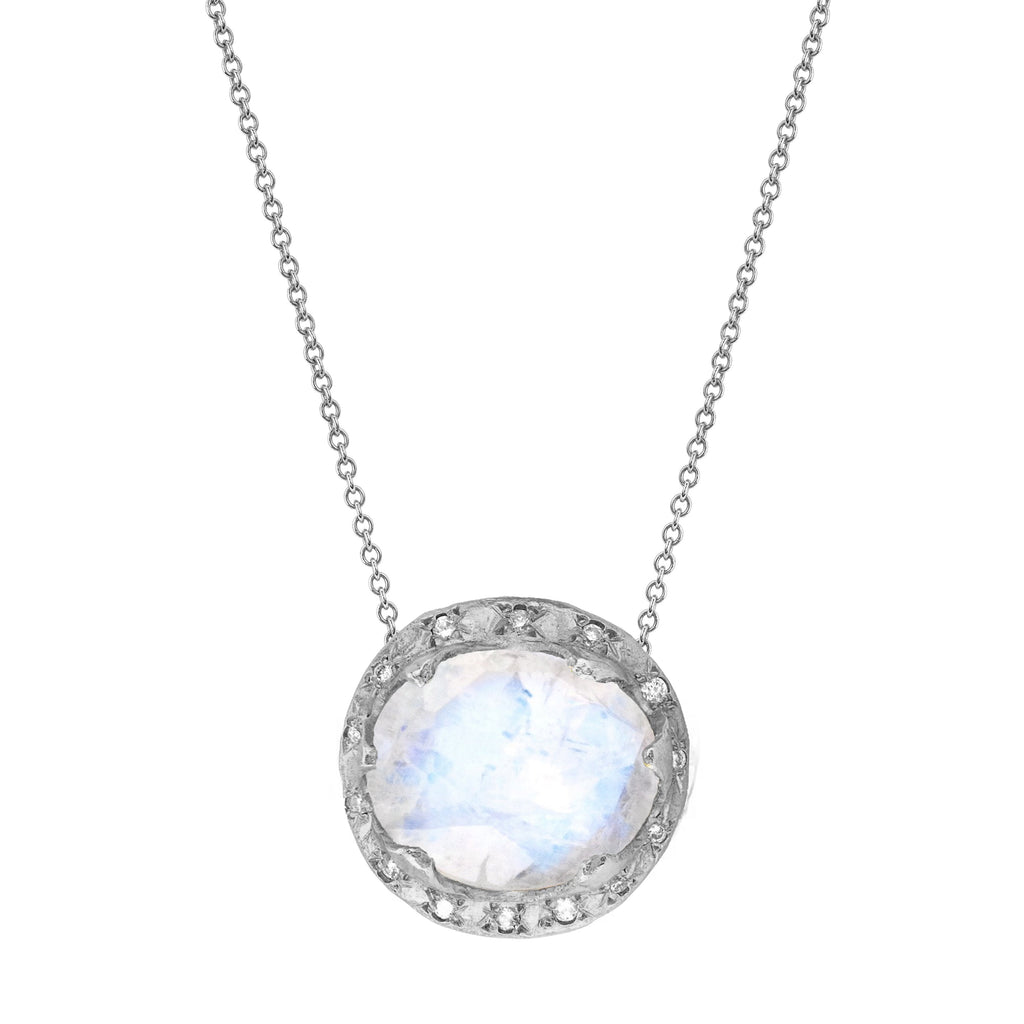 Queen Oval Moonstone Necklace with Sprinkled Diamonds White Gold