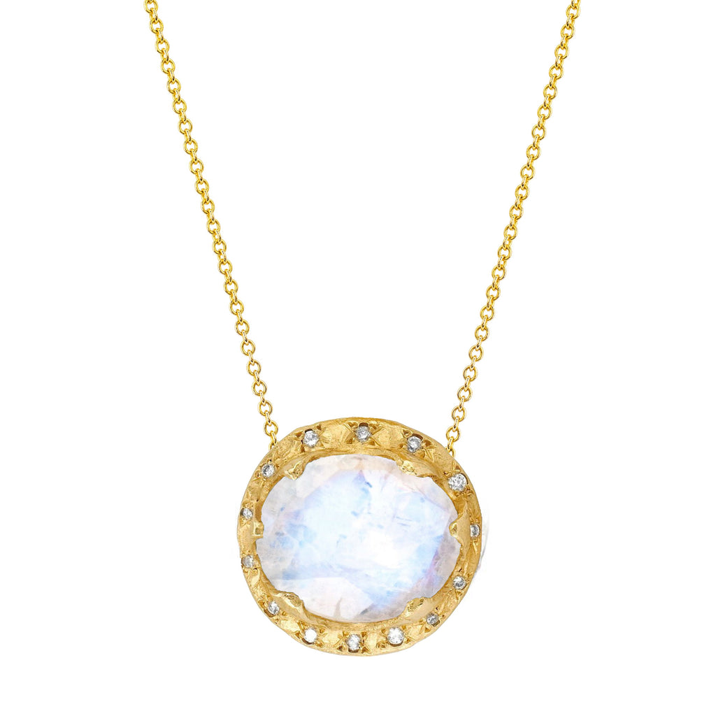 Queen Oval Moonstone Necklace with Sprinkled Diamonds Yellow Gold