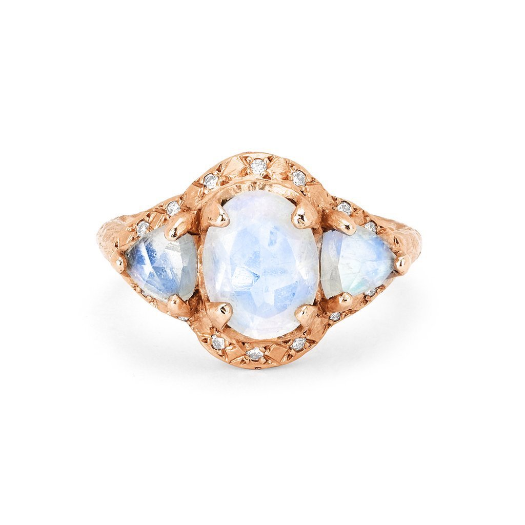 Queen Triple Goddess Trillion Moonstone Ring with Sprinkled Diamonds Queen Triple Goddess Trillion Moonstone Ring with Sprinkled Diamonds