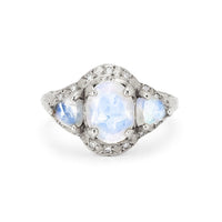 Queen Triple Goddess Trillion Moonstone Ring with Sprinkled Diamonds White Gold