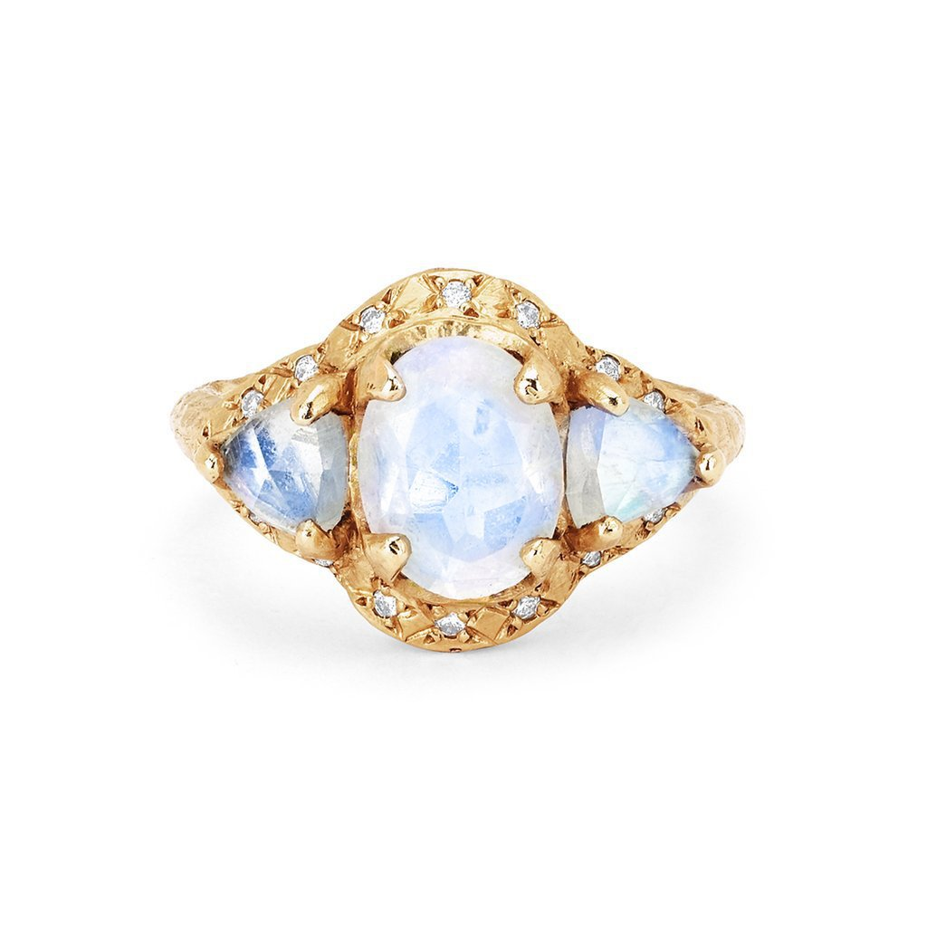 Queen Triple Goddess Trillion Moonstone Ring with Sprinkled Diamonds