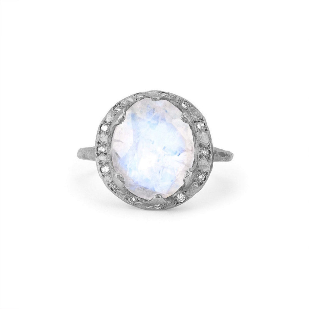 Queen Diamond and Oval Moonstone Ring with Sprinkled Diamonds White Gold
