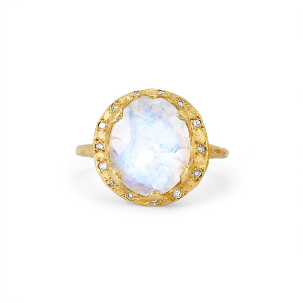 Queen Diamond and Oval Moonstone Ring with Sprinkled Diamonds Yellow Gold