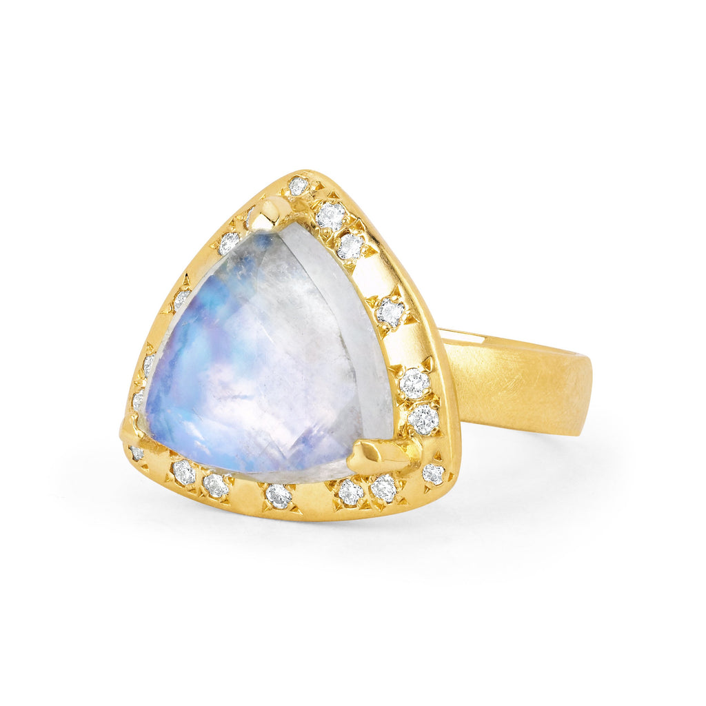 18k Queen Premium Trillion Blue Moonstone Ring with Sprinkled Diamonds 18k Queen Premium Trillion Blue Moonstone Ring with Sprinkled Diamonds