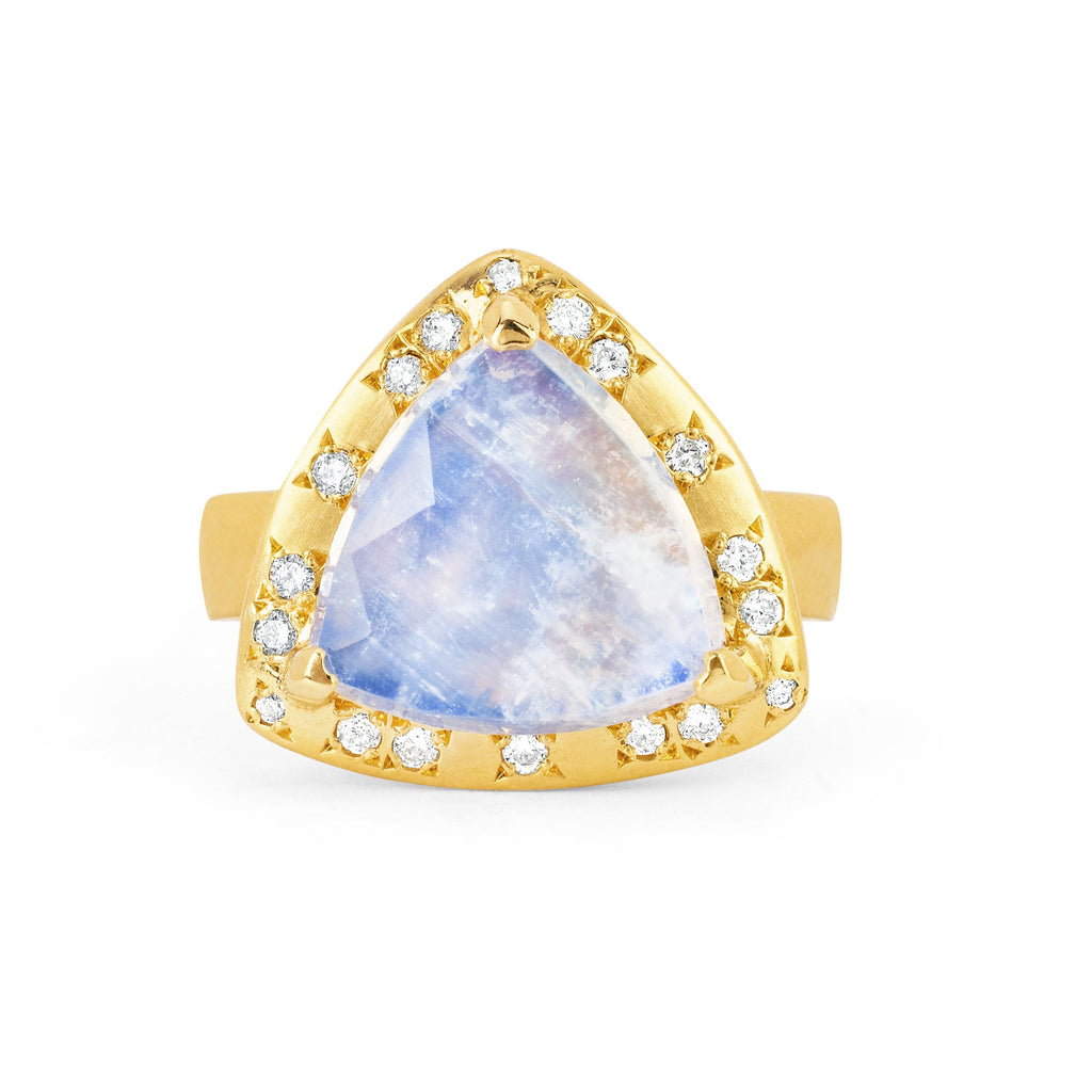 18k Queen Premium Trillion Blue Moonstone Ring with Sprinkled Diamonds Yellow Gold