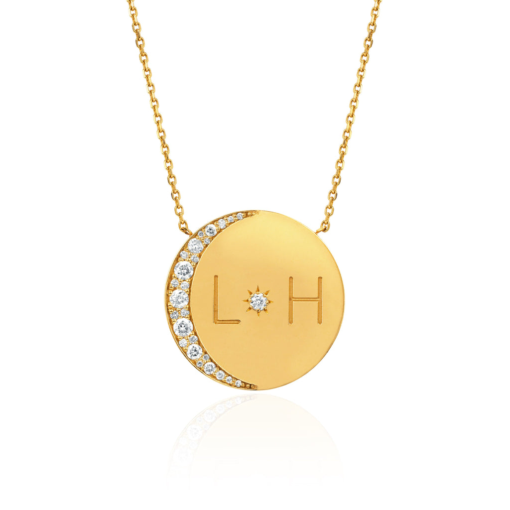 Love You To The Moon and Back Necklace with Diamonds Yellow Gold