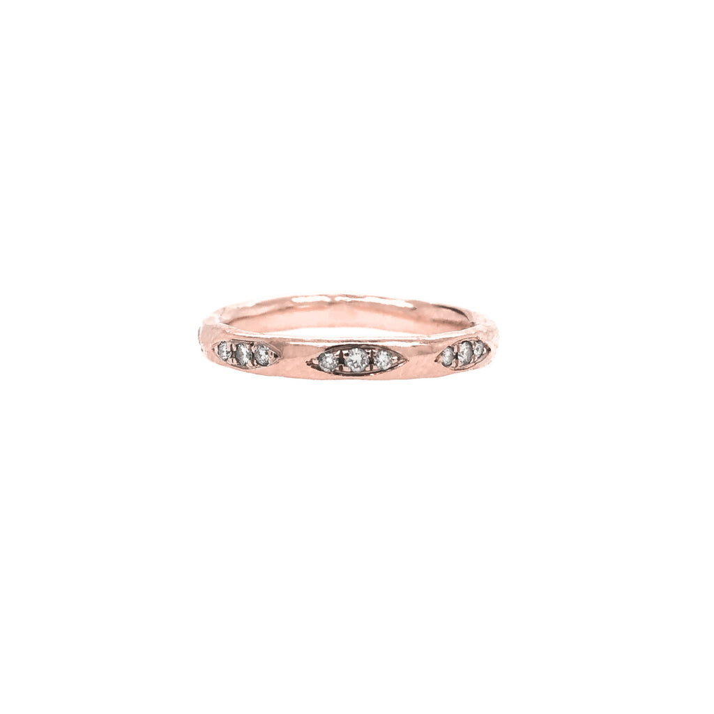 Multiple Diamond Patch Ring Rose Gold
