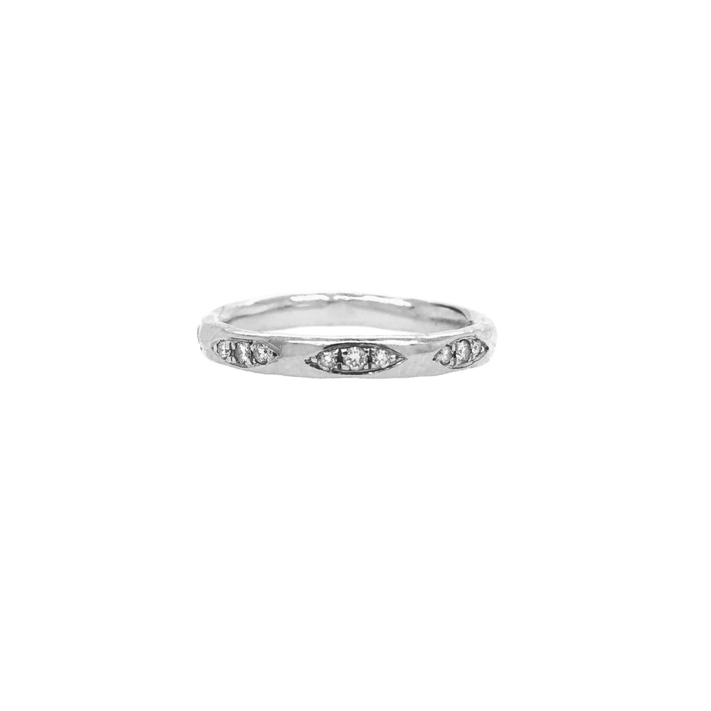 Multiple Diamond Patch Ring White Gold