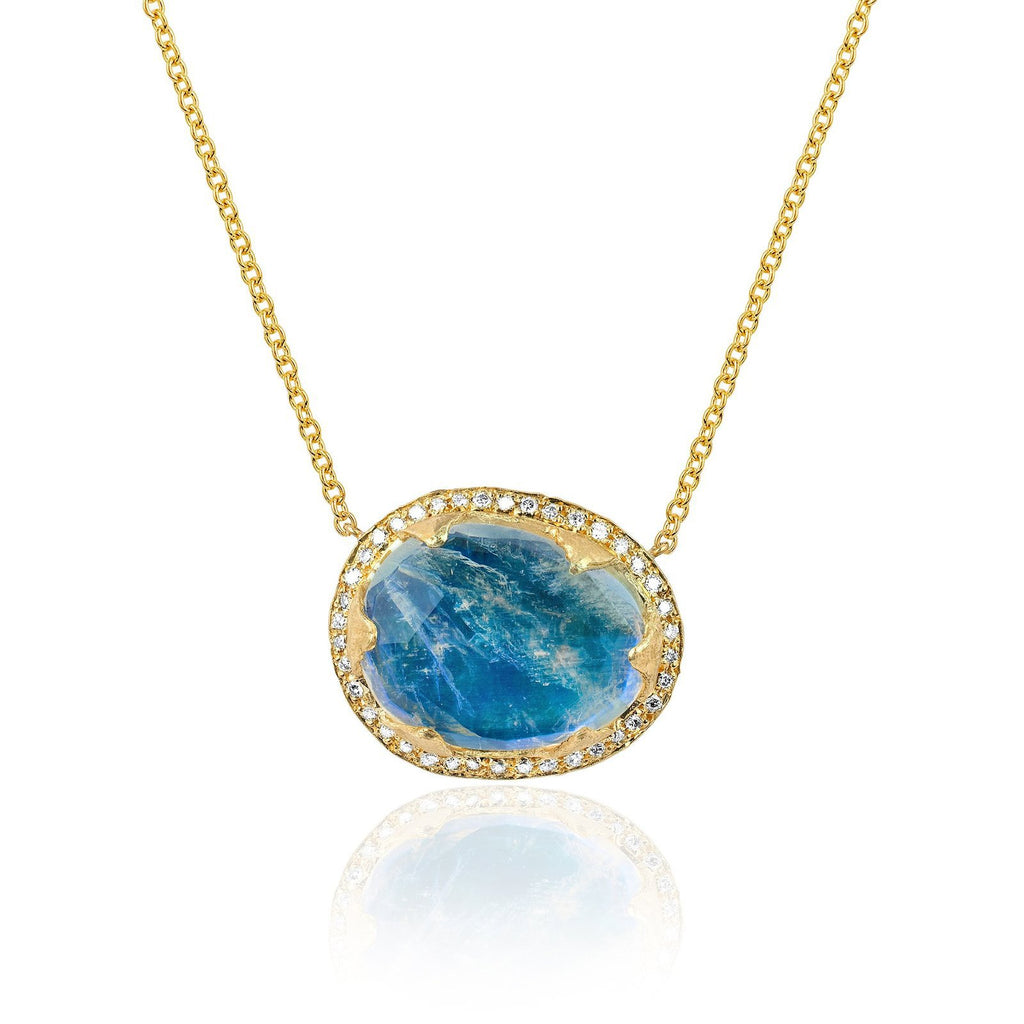 18k Premium Oval Blue Moonstone Queen Necklace Yellow Gold