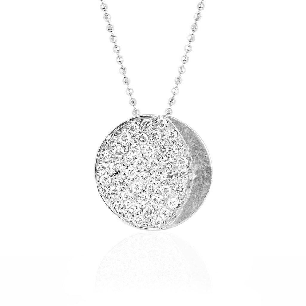 Waning Gibbous Moon Phase Coin Necklace White Gold