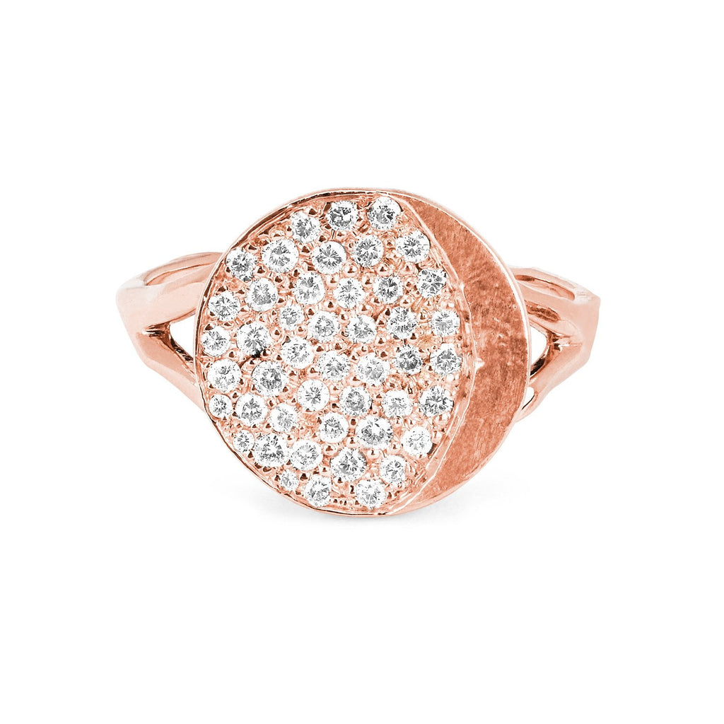 Waning Gibbous Moon Phase Coin Ring Rose Gold