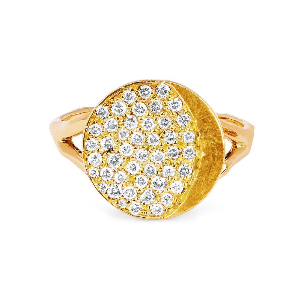 Waning Gibbous Moon Phase Coin Ring Yellow Gold