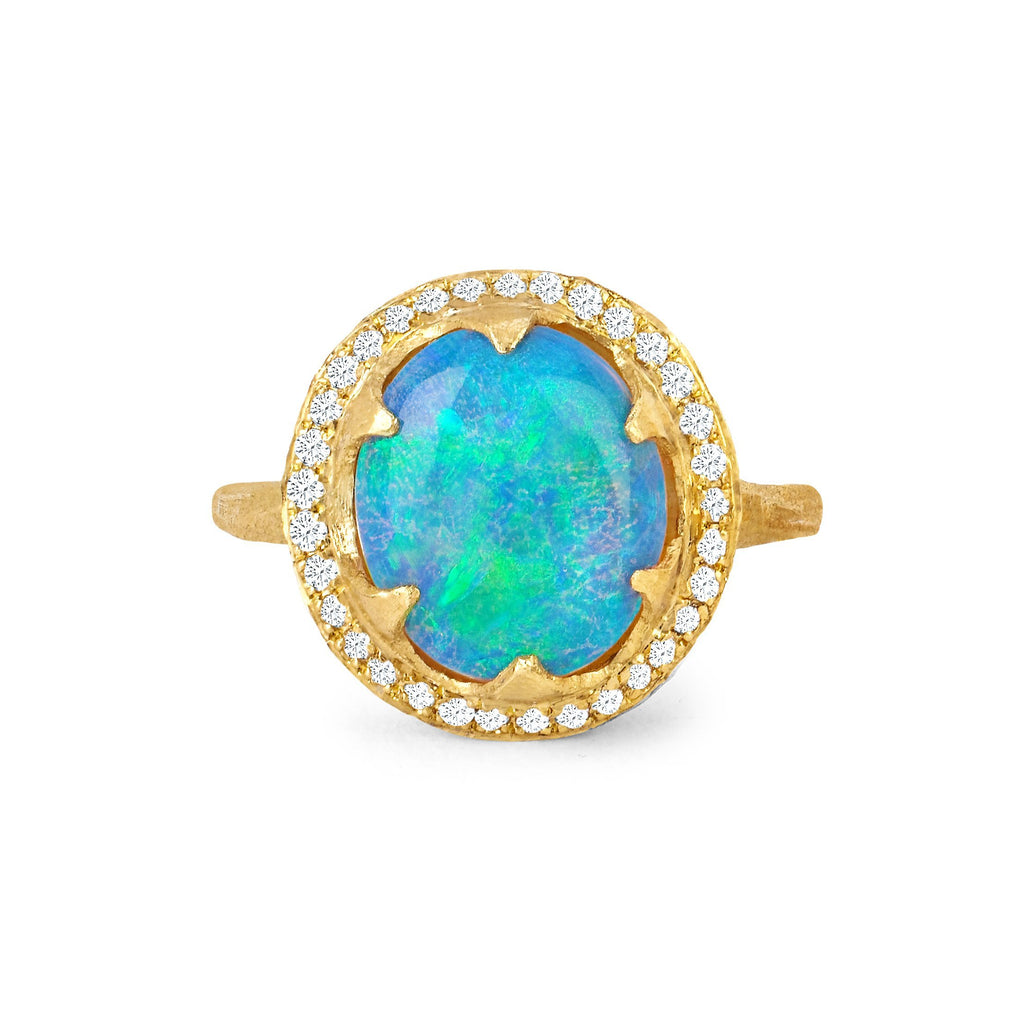 NEW! Queen Oval Cabochon Blue Opal Ring with Full Pavé Diamond Halo NEW! Queen Oval Cabochon Blue Opal Ring with Full Pavé Diamond Halo