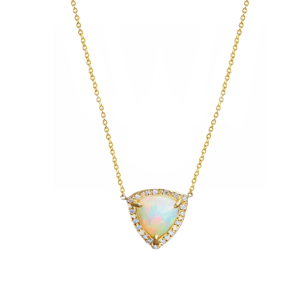 Queen Trillion Cabochon White Opal Necklace with Full Pavé Diamond Halo Yellow Gold