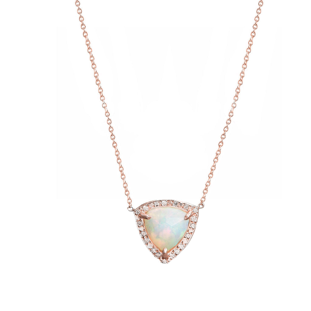 Queen Trillion Cabochon White Opal Necklace with Full Pavé Diamond Halo Rose Gold