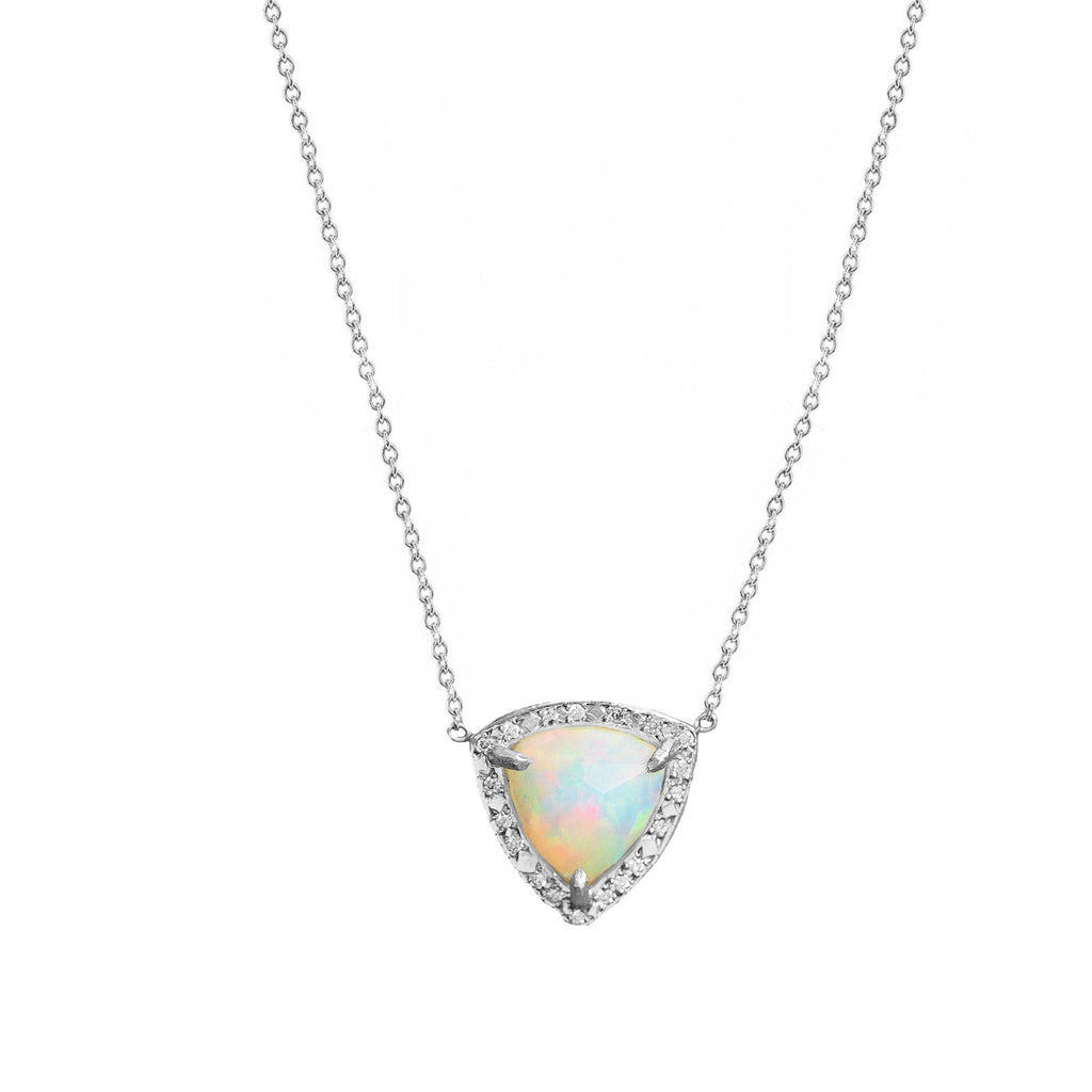Queen Trillion Cabochon White Opal Necklace with Full Pavé Diamond Halo White Gold