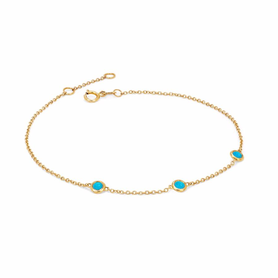 3 Turquoise Orbit Bezel Bracelet Yellow Gold