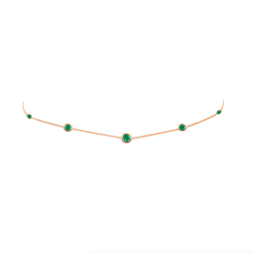 5 Emerald Orbit Bezel Choker Rose Gold